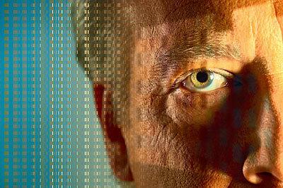 Digital lines across man s face